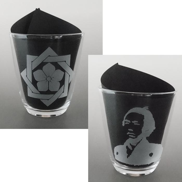 ブラスト工芸|坂本龍馬 家紋グラス 参|レニオンコーポレション|高知