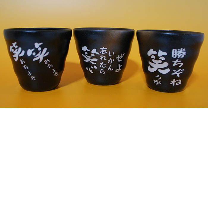 ブラスト工芸|土佐弁焼酎カップ3個セット|レニオンコーポレション|高知