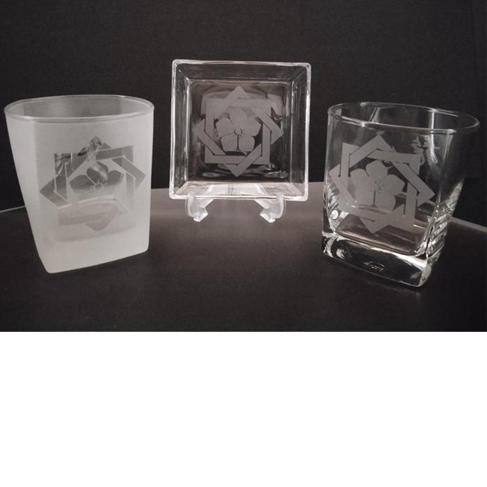 ブラスト工芸|坂本龍馬 家紋グラスセット①|レニオンコーポレション|高知