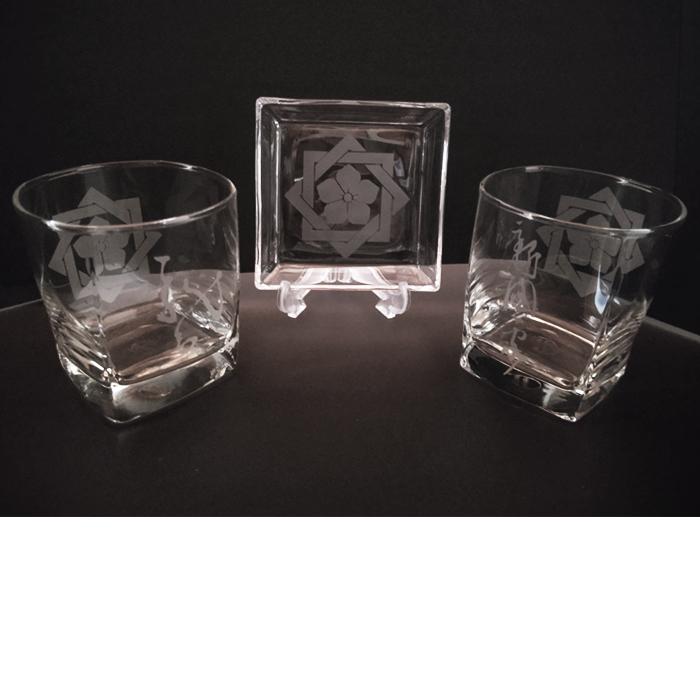 ブラスト工芸|坂本龍馬 家紋グラスセット②|レニオンコーポレション|高知