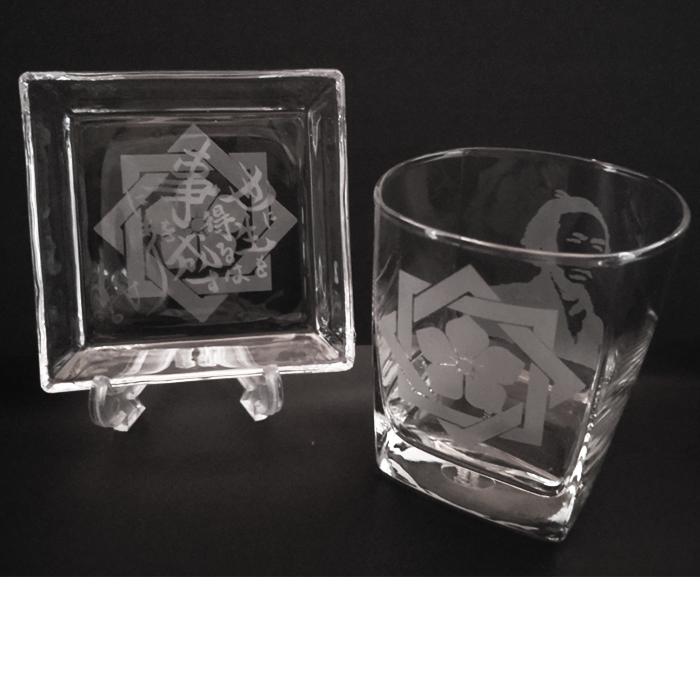 ブラスト工芸|坂本龍馬 家紋グラスセット③|レニオンコーポレション|高知