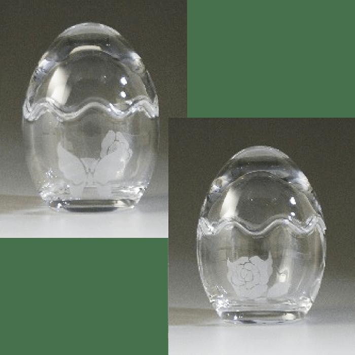 ブラスト工芸|エッグガラス 「蝶と椿」|レニオンコーポレション|高知