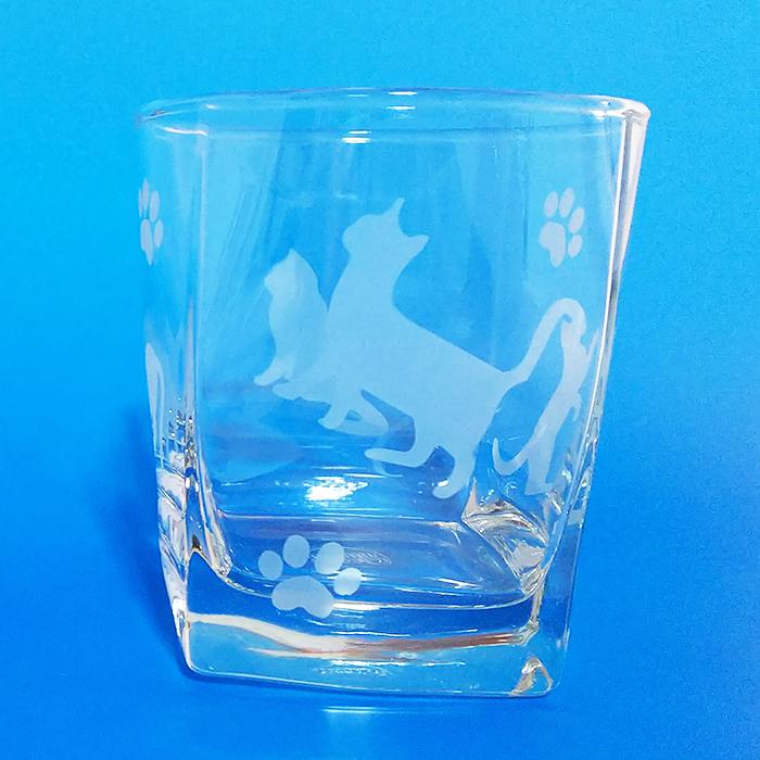 ブラスト工芸|猫グラス クリア|レニオンコーポレション|高知